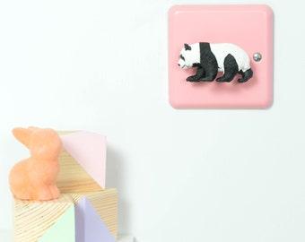 Panda Light Switch - British Made - Pink Nursery Decor - Nursery Light Switch - Pastel Pink - Pink Bedroom Decor - Panda Gifts - Panda Decor