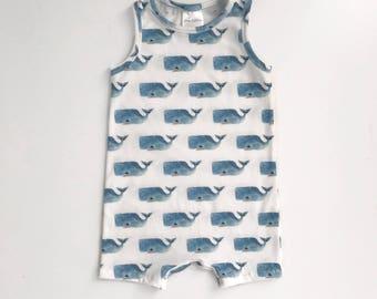 Baby Romper / Toddler Romper / Baby Onesie / Toddler Onesie - // Happy Whales - MADE TO ORDER