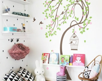 Baby Nursery Wall Decals Tree Wall Decal Kids room wall Cherry Blossom Tree Wall Decor Mural Sticker Decoration Wall Art KC032
