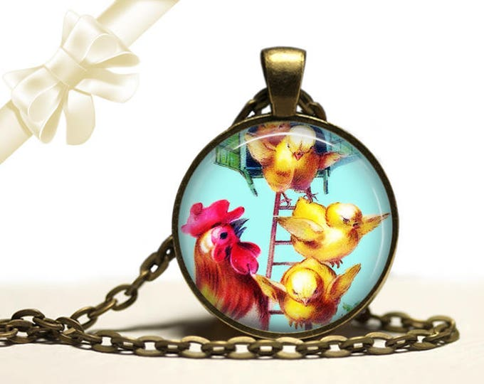 Rooster and Chicks brass Pendant Necklace Free Shipping Gifts for her