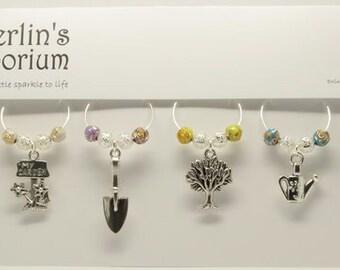 Gardener's delight (flower buds) wine glass charm set