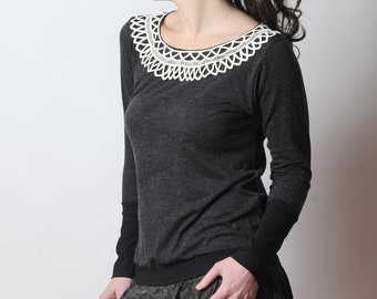 Dark grey sweater with vintage ribbon lace collar, Grey and black womens top, MALAM, size UK 12