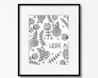 Hope 8x10 printable - digital download - black and white art - hand drawn art - home office decor - nursery wall art - printable art