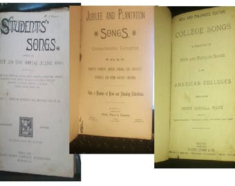 3 Song books from the 1880's plantation-jubilee-college-student-books