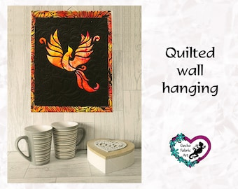 Phoenix wall hanging, phoenix picture, quilted wall hanging, home decor, phoenix quilted panel, wall hanging, quilted picture, gifts for her