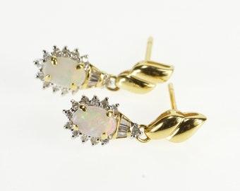14K Oval Natural Opal Diamond Halo Dangle Post Back Earrings Yellow Gold