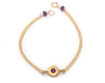 Floating Amethyst Bracelet - Gold Vermeil - Double Chain Bracelet - Chain and Gemstone Bracelet