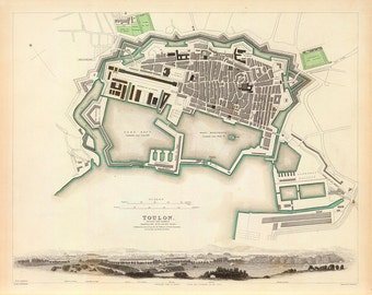 1840 Map of Toulon, France