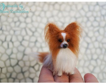 Papillon/OOAK miniature felt dog/Needle felt dog/Dollhouse/Miniature/Tiny animal/ 1:12/Best selling item