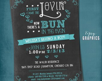 First Came the Lovin. Chalkboard Bun in the Oven Baby Shower Invite by Tipsy Graphics. Any colors