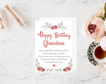 Grandma birthday card, birthday card for grandmother, gift for grandma, grandma gift, gifts for grandma, greeting card, birthday