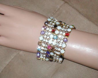 Wide Vintage multi-color Rhinestone Bracelet