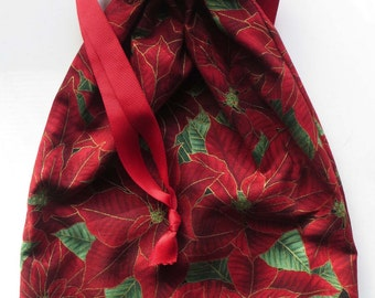 Poinsettia Lined Drawstring Fabric Gift Bag or Jewelry Bag