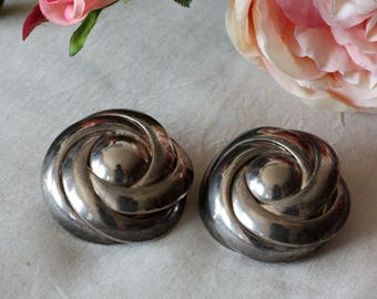 Vintage 60s ROUND EARRINGS YBIG Silver Metal Clip on Earrings Oversized Unique Clips 1960