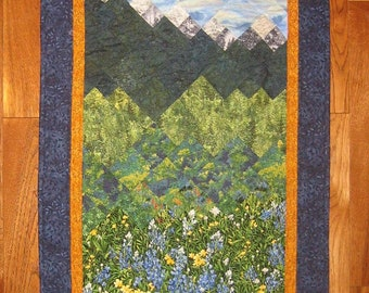 """Blue Yellow Flowers Mountain Art Quilt, Lake Tahoe Fabric Wall Hanging, Landscape Quilt Textile Art 26 x 55"""", Tapestry Cabin Resort"""