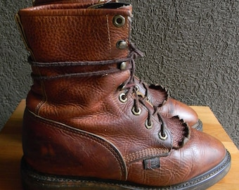 RESERVED For Katie///Vintage 1980s Justin Original Roper Work Boots with Kiltie Women's Size 6.5 Made in USA