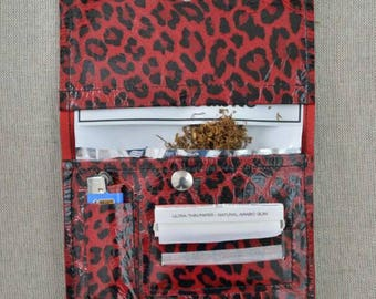 Tobacco in real leather leopard print red