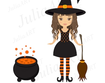 Cartoon witch girl curly with broom vector image