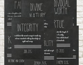 LDS Young Women's Values // 8.5 x 11 //Chalkboard // Black and White // Digital Download