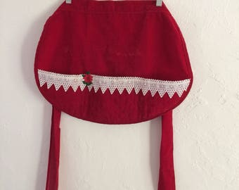 Vintage Christmas Apron Red Half Apron Red Velvet Christmas Kitchen Old Fashioned Christmas