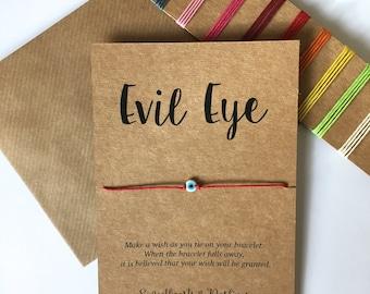 Evil eye wish string bracelet, red string evil eye bracelet, Simple bracelet, Minimalist, Lucky bracelet, spiritual Buddhist Kabbalah
