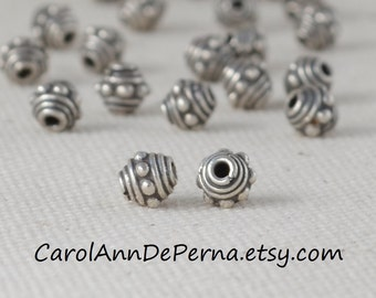 925 sterling silver beads, 5 mm length x 5 mm diam, YOU SELECT: 10 - 80 quantity .4 grams each 925 Bali sterling silver beads jewelry making