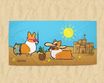 Corgi Beach Party Beach Towel | 30x60 or 35x60 in Printed Terrycloth | Welsh Corgi Summertime Fun | Made to Order