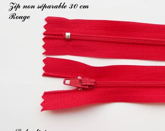 1 simple not separable 30 cm zipper: Red