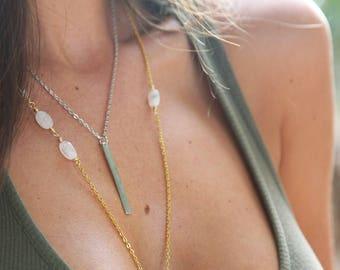 Golden Rod Brass Necklace – brass bar pendant, modern minimal jewelry, boho necklace, geometric, simplistic necklace, layering necklace