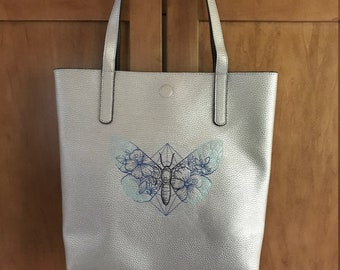 Butterfly Lined Embroidered Tote Bag, Purse, Machine Embroidered