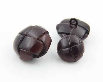 6 Pcs 0.59~0.98 Inches Fashion Dark Brown Cross Cowhide Leather Shank Buttons For Coats Sweaters