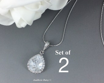 Set of 2 Cubic Zirconia Necklace Bridal Jewelry Bridesmaid Gift Crystal Necklace Mother of Bride Mother of Groom Gift for Her