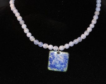 Enameled Pendant with Beaded Necklace #121916-001