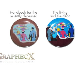 Fan-made Handbook for the Recently Deceased Living and the Dead cosplay inspired personalized buttons