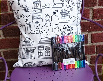 Colour your own cushion cover random owl castle teepee cake tea bugs trees rainbows