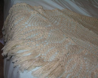 Vintage Shawl with Fringe Ivory & Gold