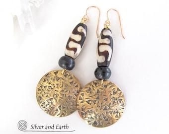 African Tribal Earrings, Big Brass Earrings, Bold Statement Earrings, Unique Handmade Jewelry, Long Dangle Earrings, Ethnic African Jewelry