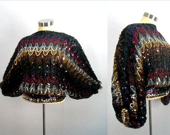 Multicolored Sequins Over Black Top // 1980s Disco Dance Short Pullover With Dolman Sleeves