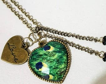 Peacock Antique brass chain, 26 cm approx,brass peacock print, heart love charm, necklace,glitter pendant, beads, mothers day, gift,birthday