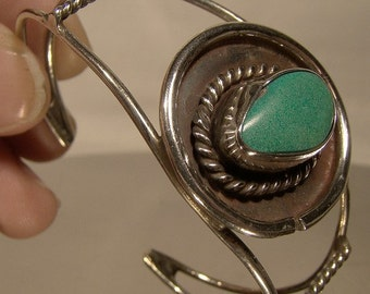 Navajo Sterling Silver Turquoise Southwest Tribal Cuff bangle Bracelet 1950s