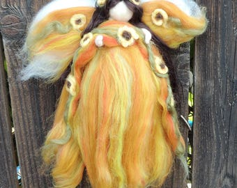 For Claudia - Sunflower Fairy -   Needle felted soft sculpture - Waldorf Inspired by Rebecca Varon