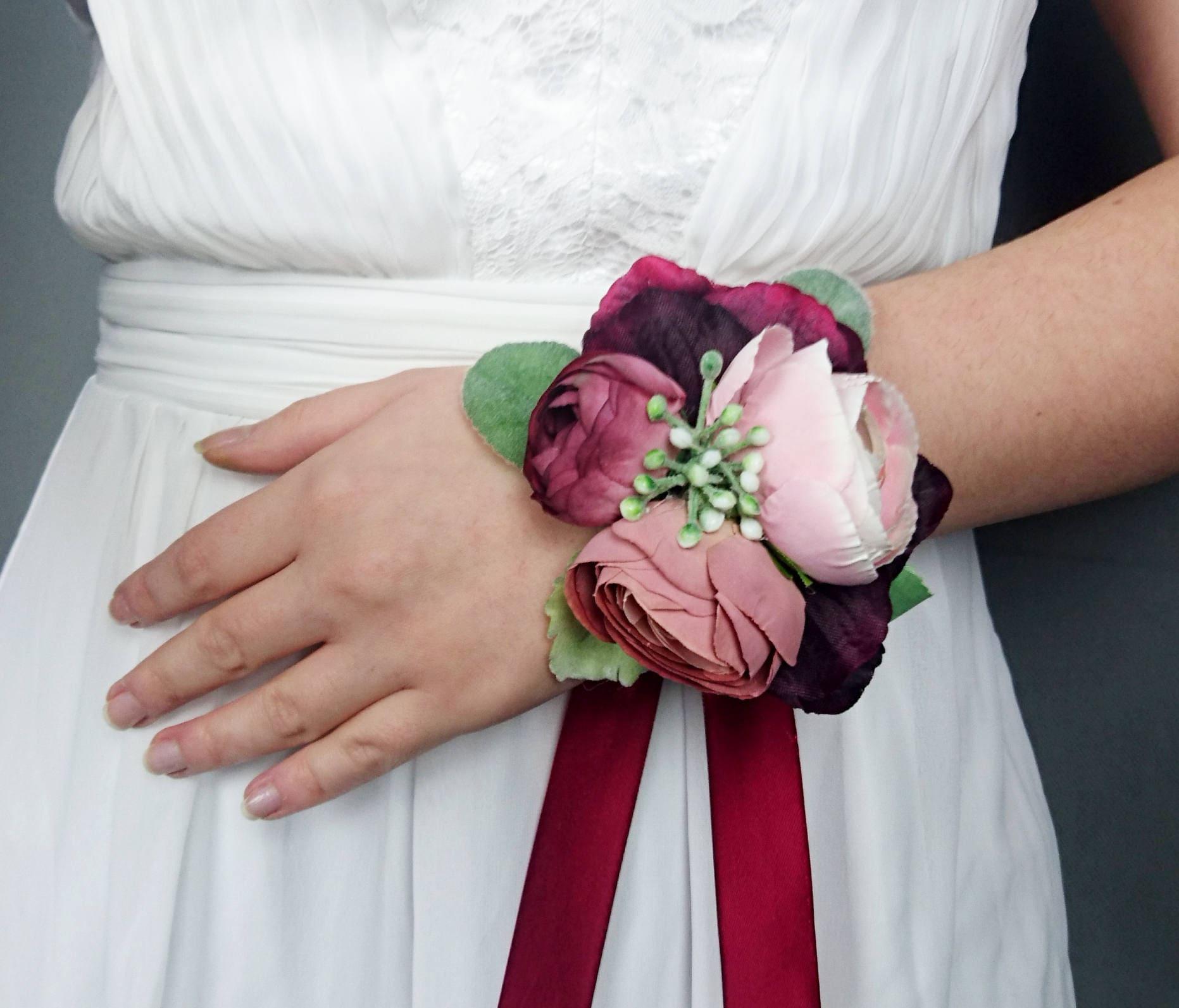 Dusty Blush Pink Burgundy Wrist Corsage Rose Realistic Silk Flower