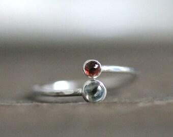 Double Gemstone Ring, Two Birthstone, Silver Stacking Ring: March Birthstone Ring- Aquamarine Ring- Choose a second gemstone! R010