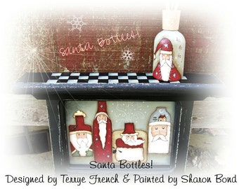 Santa Bottles by Sharon Bond, email pattern packet!