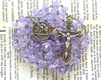 Holy Family Rosary - Catholic Rosary, Violet Czech Glass Beads, Large