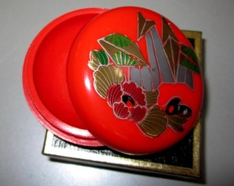 Vintage Pill Box in Red with Flowers/Towers by Sarsaparilla ~ Style # 3 Red