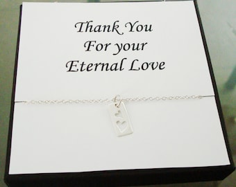 Cut Out Double Heart Tag Sterling Silver Necklace ~~Personalized Jewelry Gift Card for Mom, Best Friend, Sister, Cousin, Bridal Party,