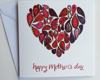Mother's Day card - heart Mother's day card - painted Mother's Day card - hand finished Mother's Day card - Paisley love heart