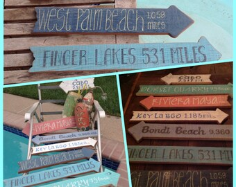 Beach Directional Signs, Beach Signs, Rustic Directional Signs, Beach Wedding, Outdoor Garden,
