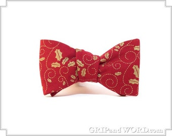 Red and Gold Holly Freestyle Christmas Bow Tie